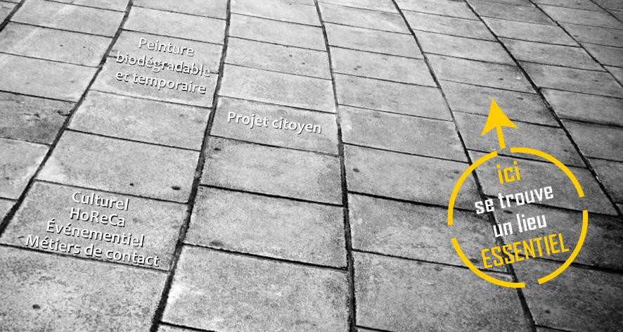 """Pochoirs """"essentiels"""" sur nos trottoirs!"""