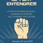 Bleu Foncé Poing Levé Droits de l'Homme Affiche-7b82b77d